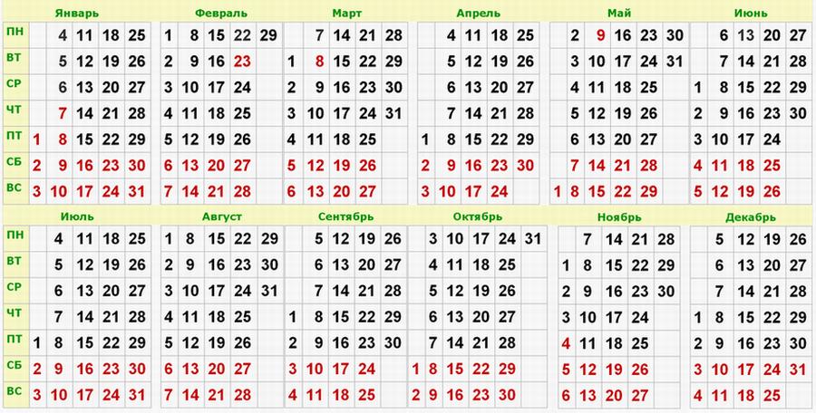 Календарь выходных и праздников в россии