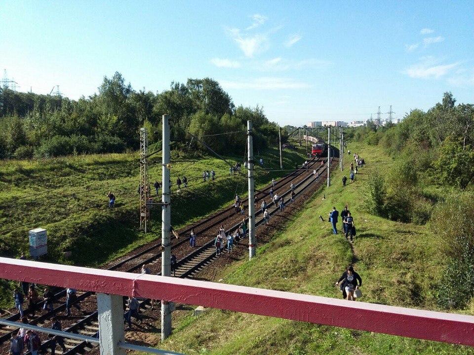 Пассажиры идут пешком порельсам: электрички встали в столице России