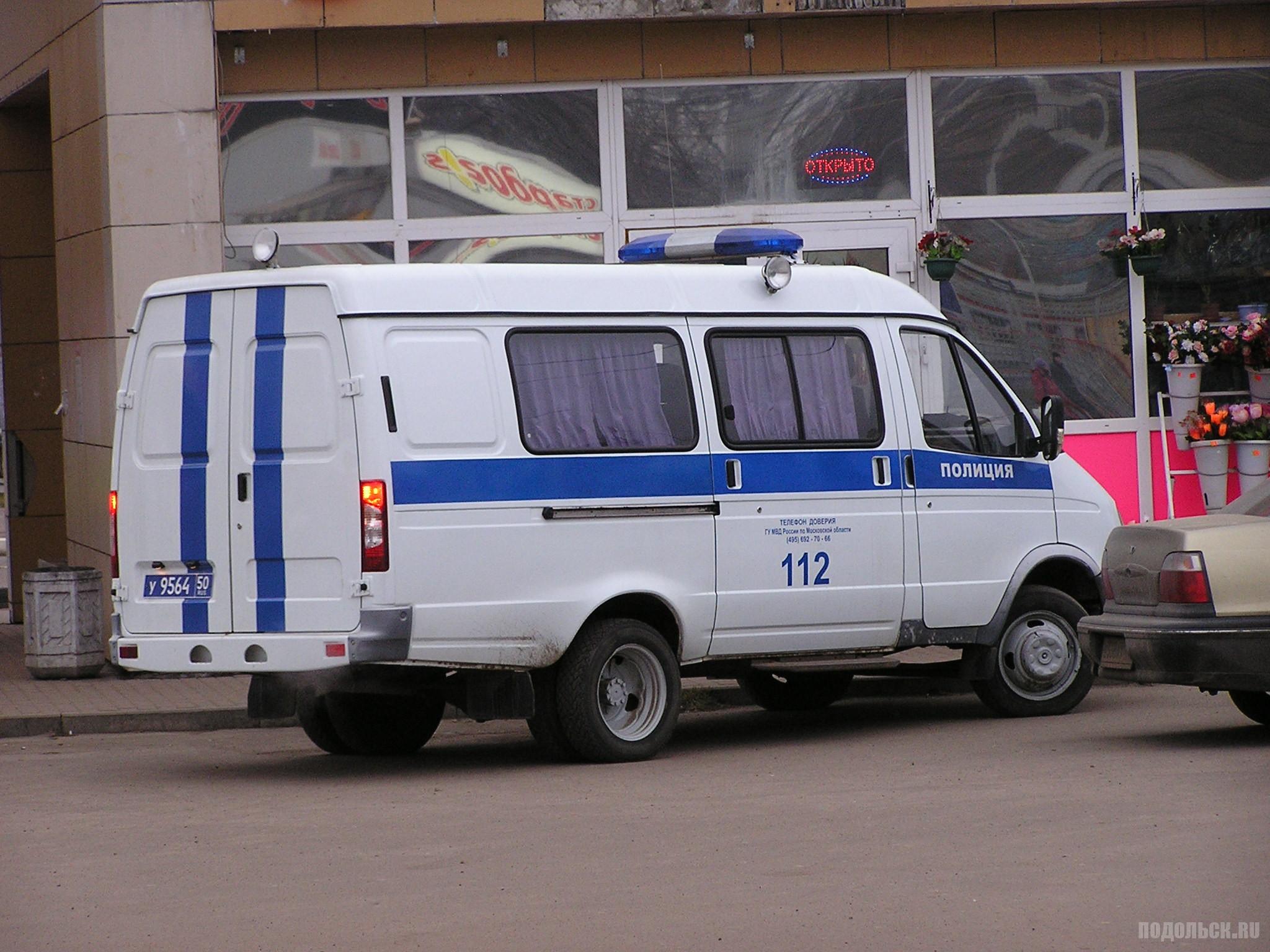 Машина полиции на станции Подольск. 12.12.2015.