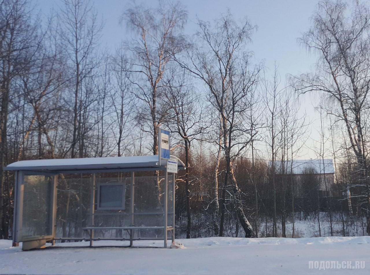 Новая автобусная остановка в Новой Москве. Январь 2016 г.