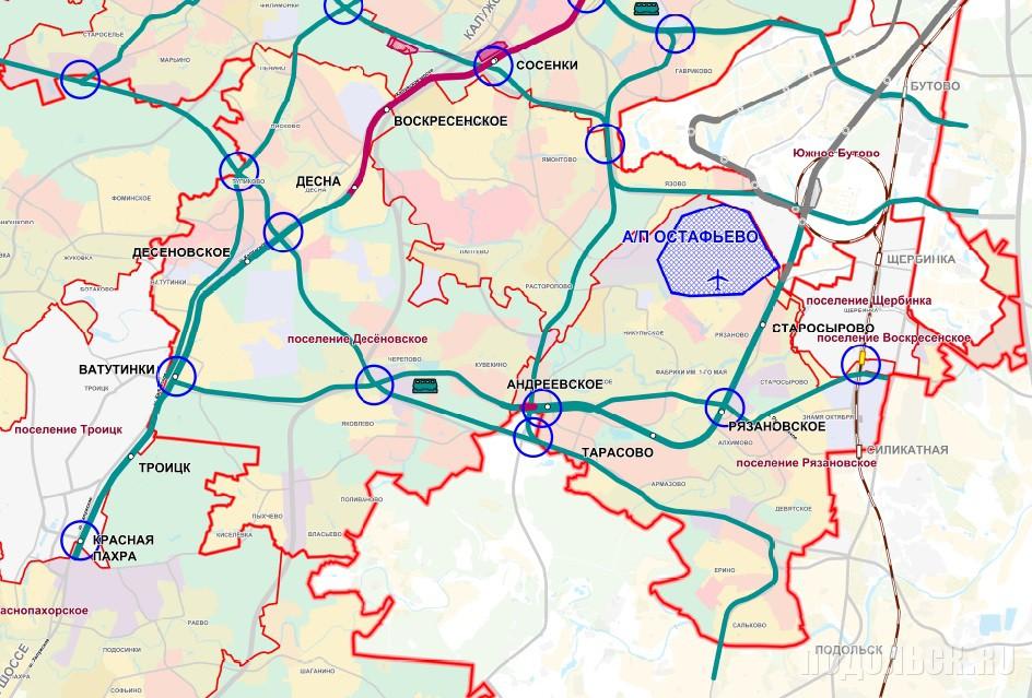 Планируемое размещение линейных объектов транспорта вокруг Подольска. На 24.12.2015 г.
