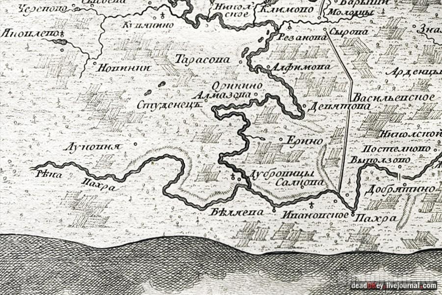 Окрестности Подольска, карта 1766 г.