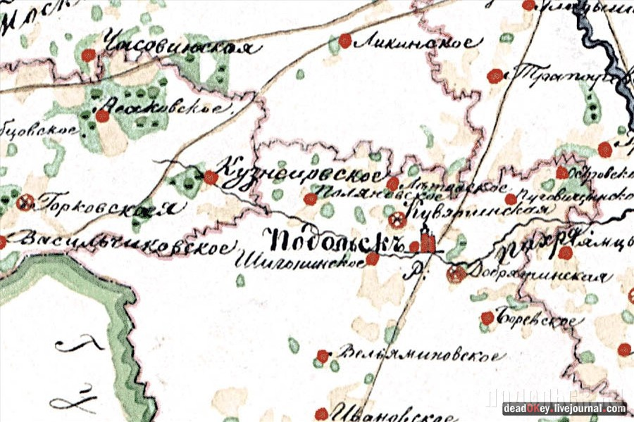 Подольск на карте 1843 г.
