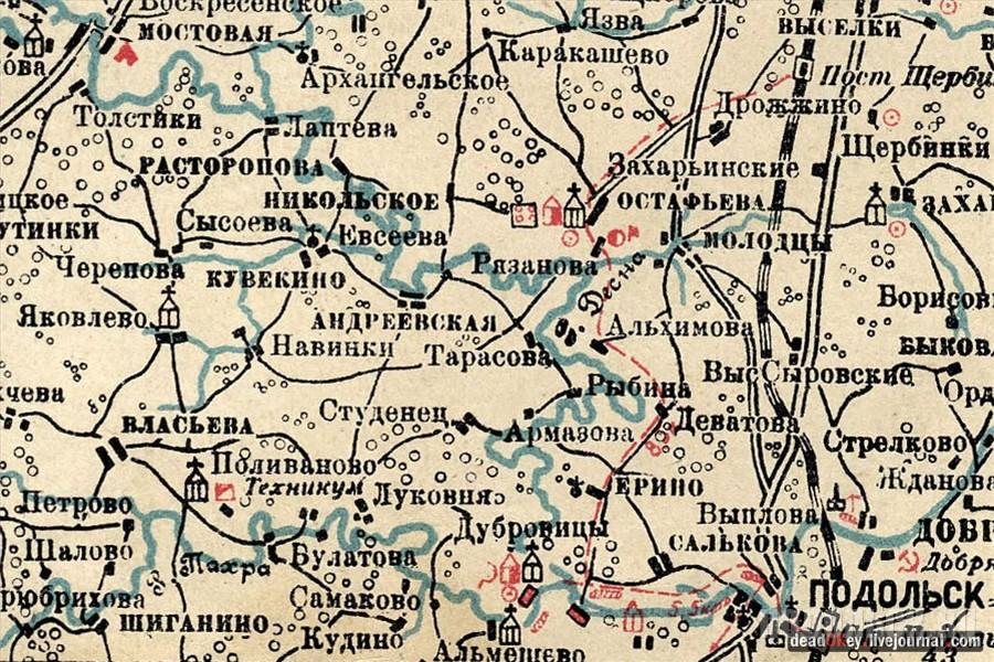 Подольск на карте 1925 г.
