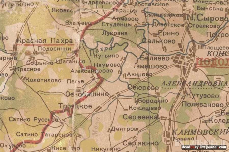 Подольске на карте 1939 года.