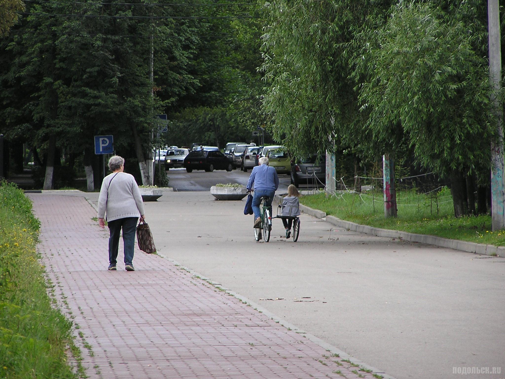 Дедушка изобрел детскую коляску к велосипеду. 23 июля 2016 г.