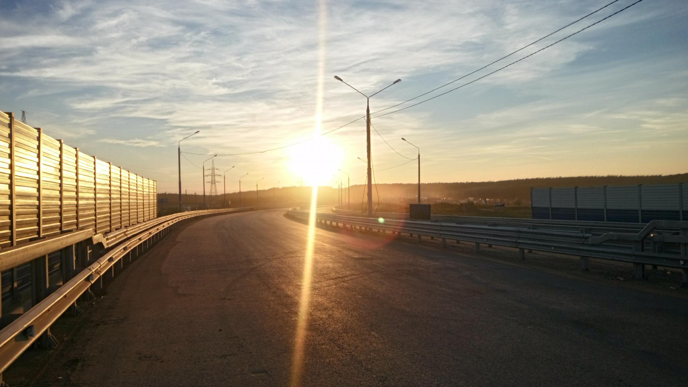 """Южный обход"" на закате. Мост через ж/д. Август 2016 г."