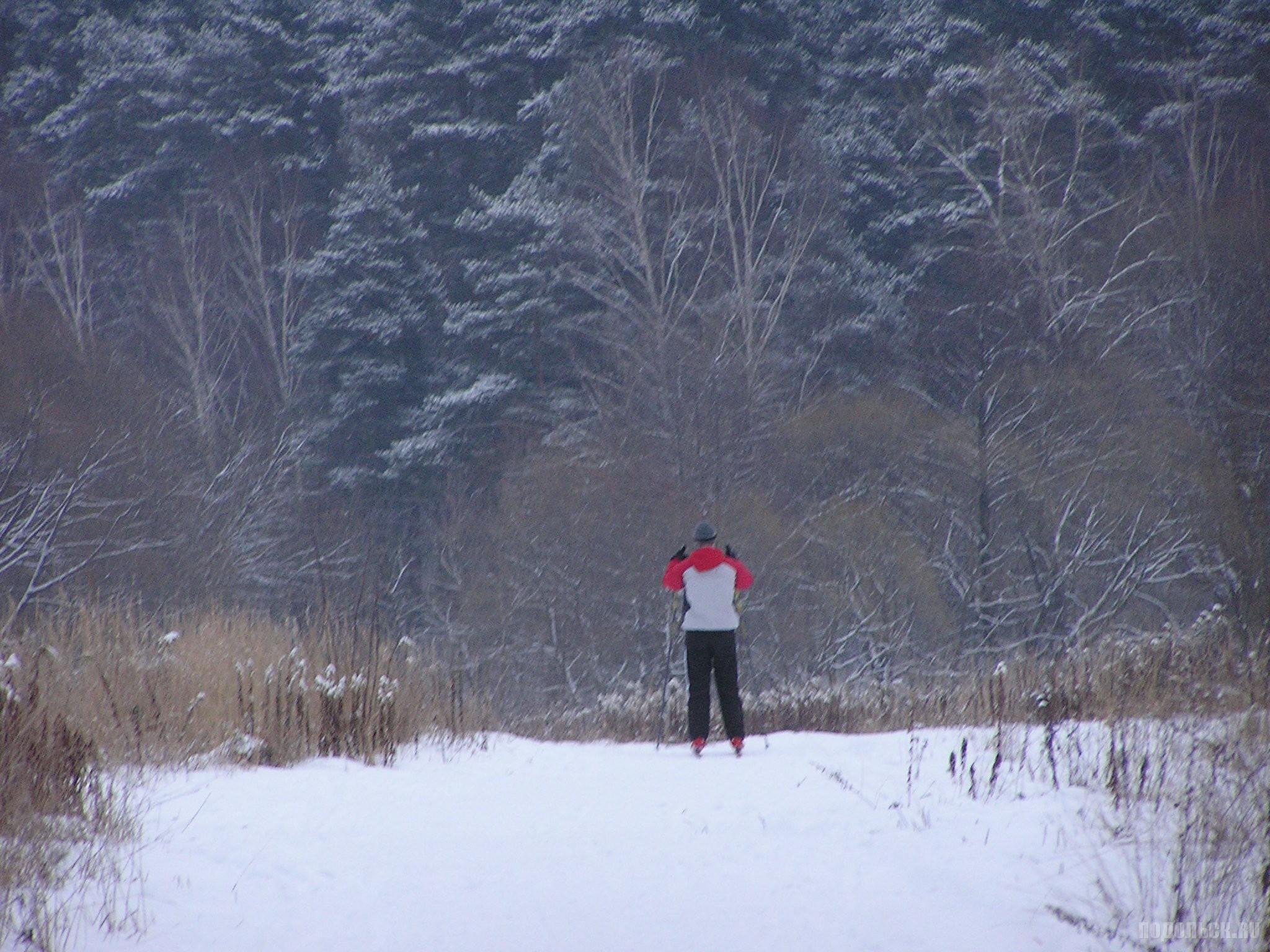 Лыжник в Климовске. 3 декабря 2016 г.