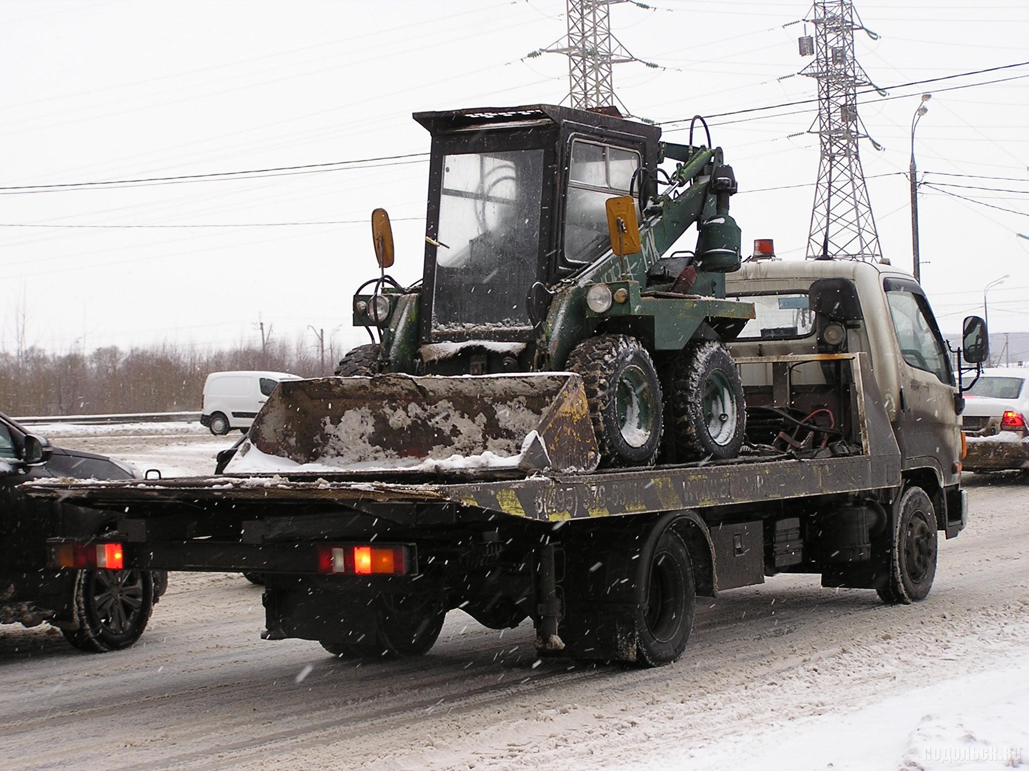 Мини-трактор на эвакуаторе. 15.01.2016.