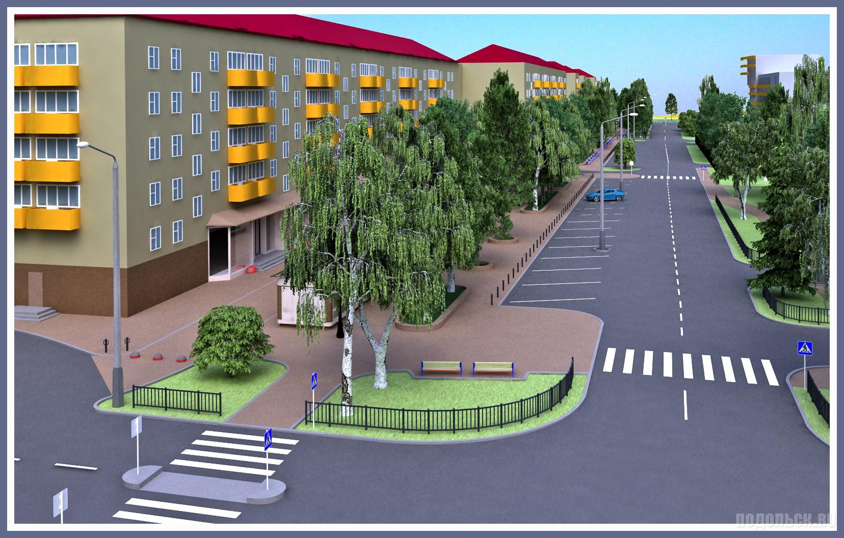 Проект пешеходной зоны в Климовске