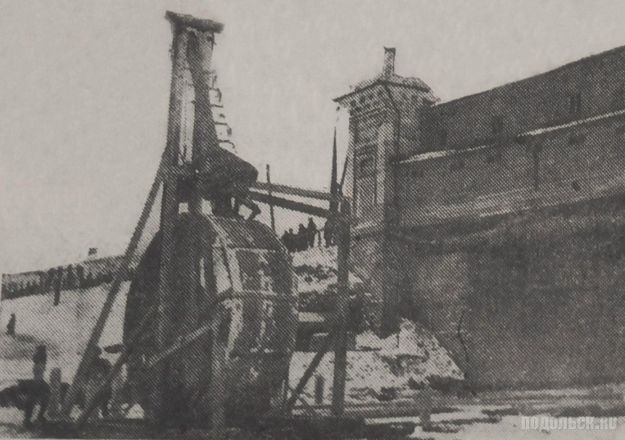 Строительство моста через Пахру. Вбивание свай для переноса старого моста. 1932 г.