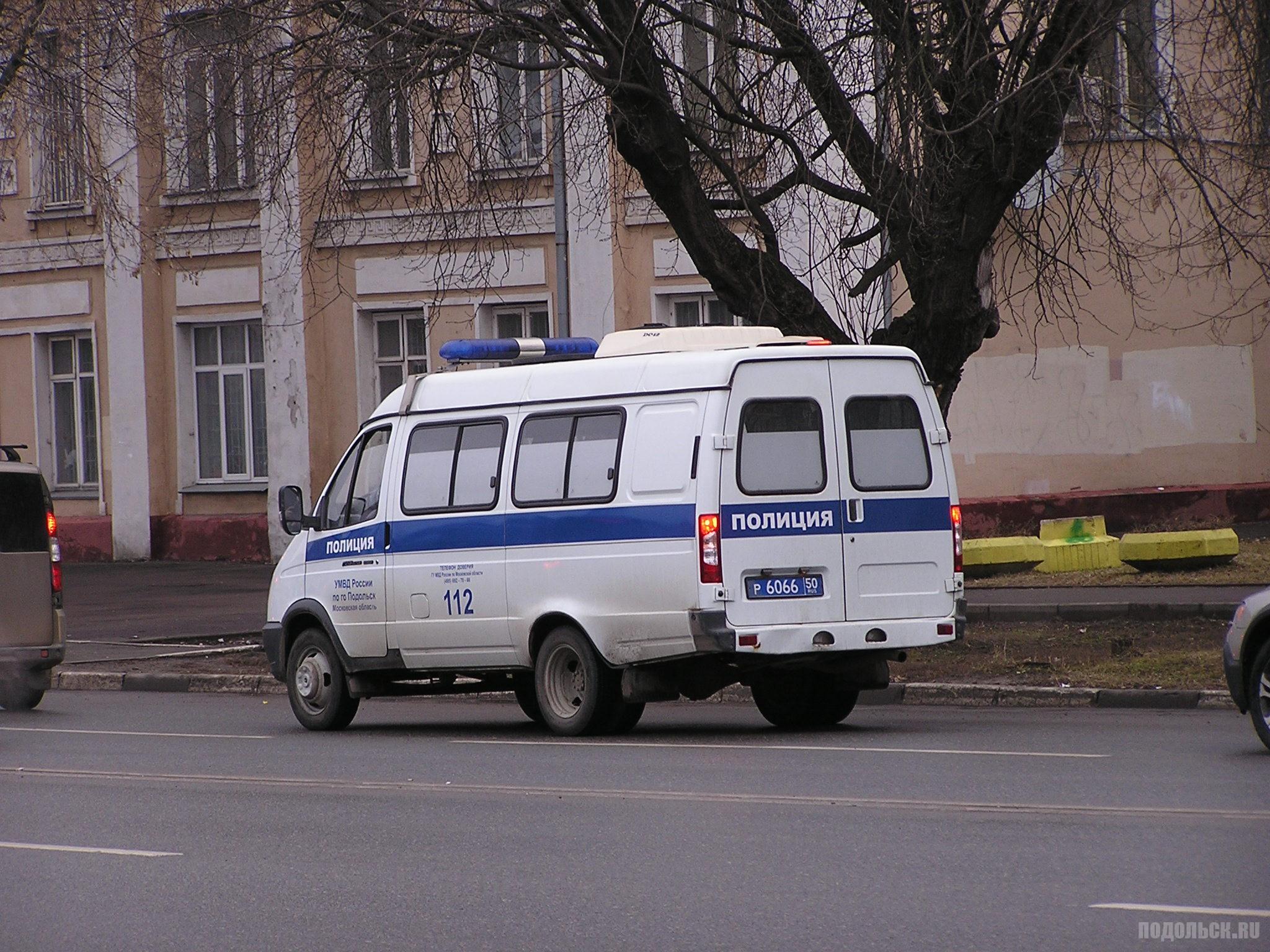 Машина полиции на проспекте Ленина в Подольске. 2 апреля 2017.