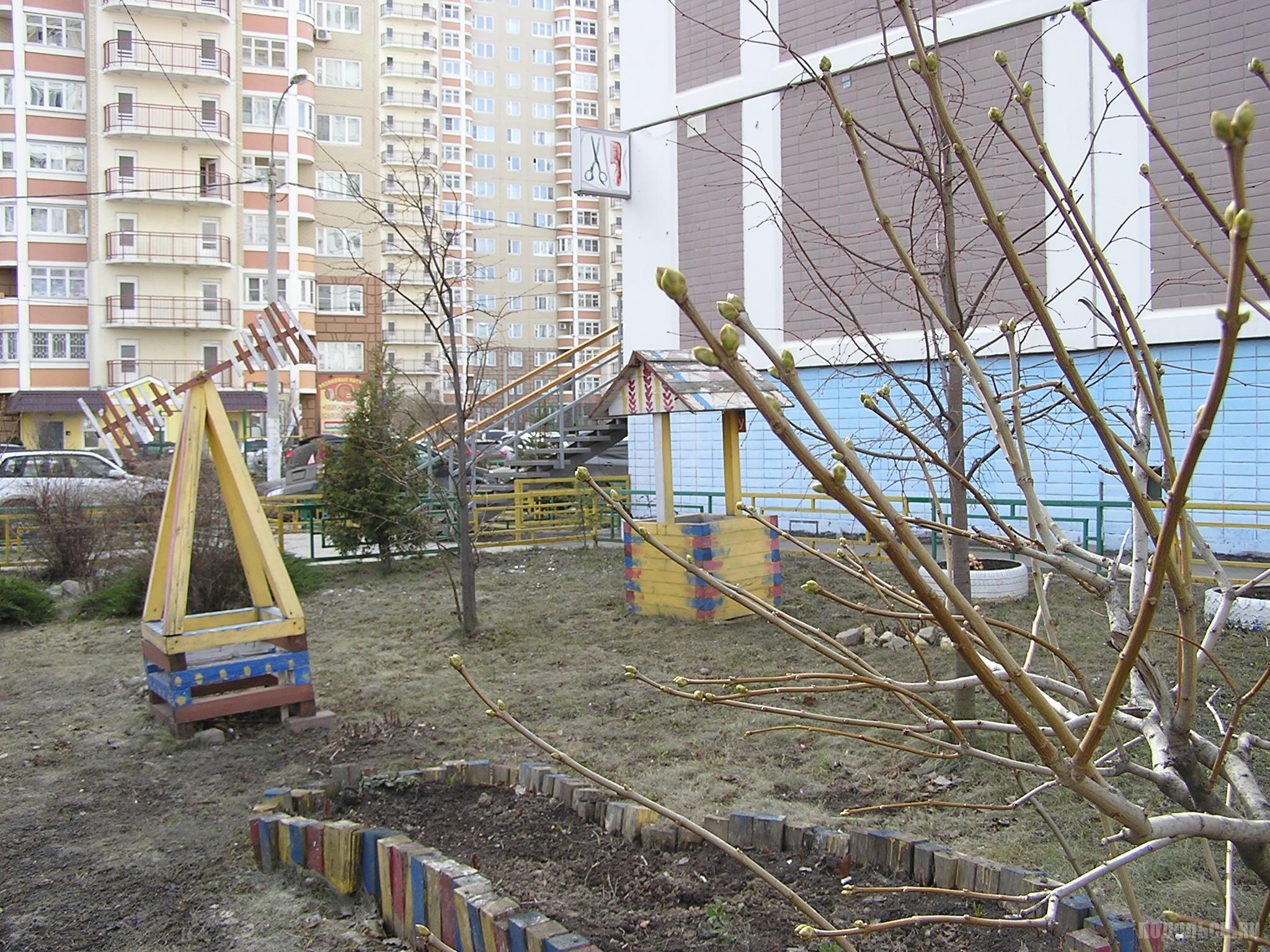 Двор на ул. Академика Доллежаля. Палисадник. 04.04.2019