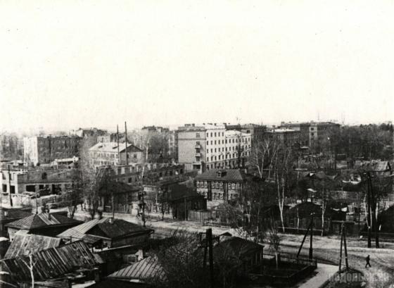 Общий вид части города, застроенной жилыми домами Подольского цементного завода