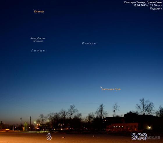 Юпитер и молодой серп Луны на вечернем небе